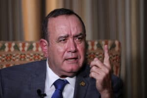 Guatemala's President Alejandro Giammattei attends an interview with Reuters in Guatemala City